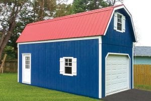 single wide garage with windows and doors