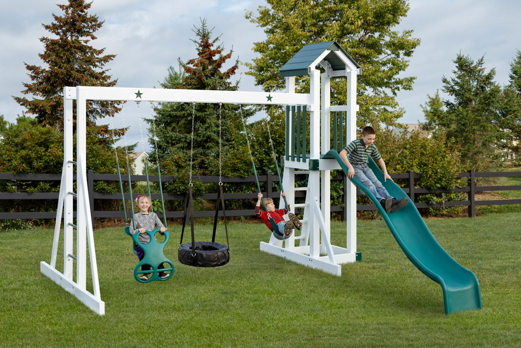 compact play structure with swings