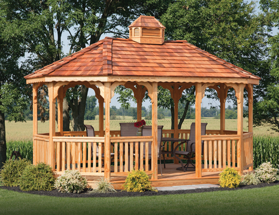 10x16 wood oval gazebo