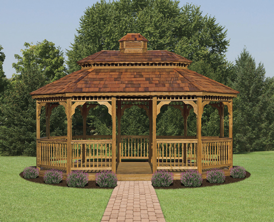 12x18 wood oval gazebo