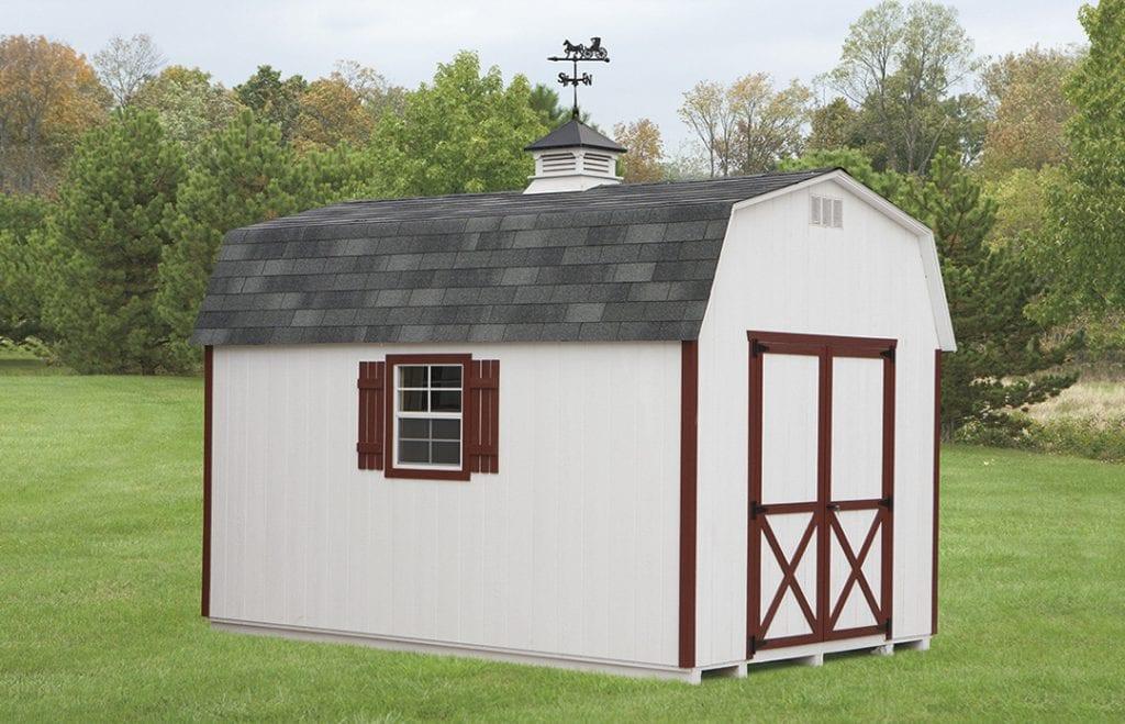 10 x 14 mini barn with weathervane